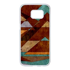 Turquoise And Bronze Triangle Design With Copper Samsung Galaxy S7 Edge White Seamless Case by theunrulyartist