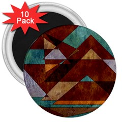 Turquoise And Bronze Triangle Design With Copper 3  Magnets (10 Pack)  by digitaldivadesigns