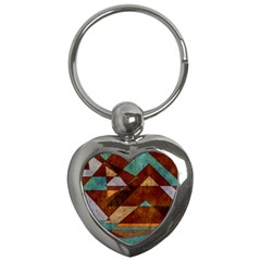 Turquoise And Bronze Triangle Design With Copper Key Chains (heart)  by theunrulyartist