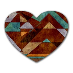 Turquoise And Bronze Triangle Design With Copper Heart Mousepads by theunrulyartist