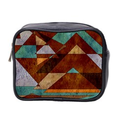 Turquoise And Bronze Triangle Design With Copper Mini Toiletries Bag 2 Side by theunrulyartist