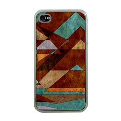 Turquoise And Bronze Triangle Design With Copper Apple Iphone 4 Case (clear) by digitaldivadesigns