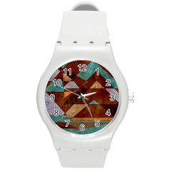 Turquoise And Bronze Triangle Design With Copper Round Plastic Sport Watch (m) by theunrulyartist