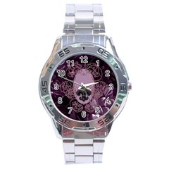 Soft Violett Floral Design Stainless Steel Analogue Watch by FantasyWorld7