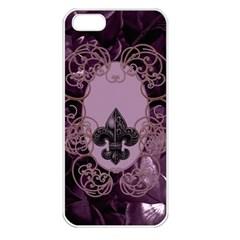 Soft Violett Floral Design Apple Iphone 5 Seamless Case (white) by FantasyWorld7