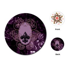 Soft Violett Floral Design Playing Cards (round)  by FantasyWorld7