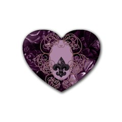 Soft Violett Floral Design Heart Coaster (4 Pack)  by FantasyWorld7
