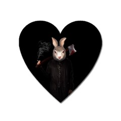 Evil Rabbit Heart Magnet by Valentinaart