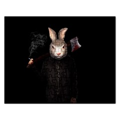 Evil Rabbit Rectangular Jigsaw Puzzl by Valentinaart
