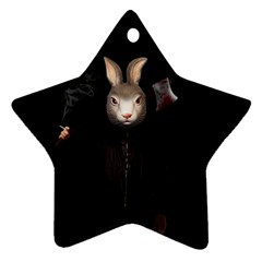 Evil Rabbit Star Ornament (two Sides) by Valentinaart