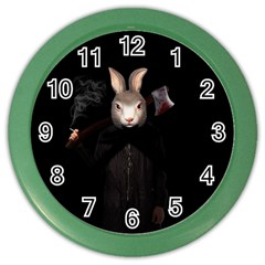 Evil Rabbit Color Wall Clocks by Valentinaart