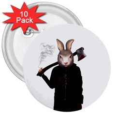 Evil Rabbit 3  Buttons (10 Pack)  by Valentinaart