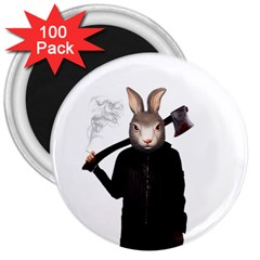 Evil Rabbit 3  Magnets (100 Pack) by Valentinaart