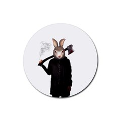 Evil Rabbit Rubber Coaster (round)  by Valentinaart