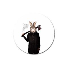 Evil Rabbit Magnet 3  (round) by Valentinaart