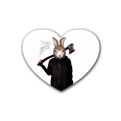 Evil Rabbit Rubber Coaster (heart)  by Valentinaart