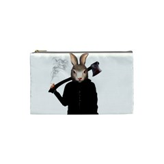 Evil Rabbit Cosmetic Bag (small)  by Valentinaart