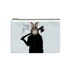 Evil Rabbit Cosmetic Bag (medium)  by Valentinaart