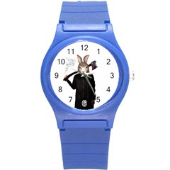 Evil Rabbit Round Plastic Sport Watch (s) by Valentinaart