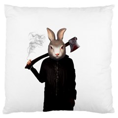 Evil Rabbit Large Flano Cushion Case (two Sides) by Valentinaart
