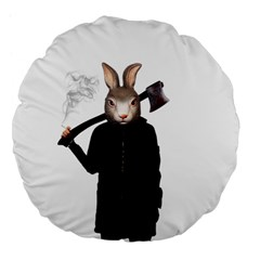 Evil Rabbit Large 18  Premium Flano Round Cushions by Valentinaart