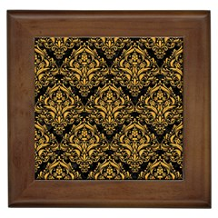 Damask1 Black Marble & Orange Colored Pencil Framed Tiles by trendistuff