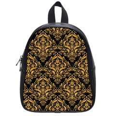 Damask1 Black Marble & Orange Colored Pencil School Bag (small) by trendistuff