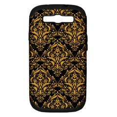 Damask1 Black Marble & Orange Colored Pencil Samsung Galaxy S Iii Hardshell Case (pc+silicone) by trendistuff