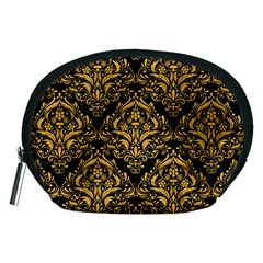 Damask1 Black Marble & Orange Colored Pencil Accessory Pouches (medium)  by trendistuff