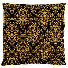 Damask1 Black Marble & Orange Colored Pencil Standard Flano Cushion Case (one Side) by trendistuff