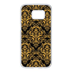 Damask1 Black Marble & Orange Colored Pencil Samsung Galaxy S7 Edge White Seamless Case by trendistuff