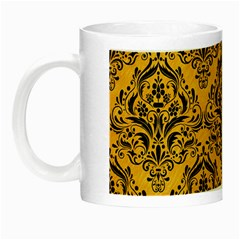Damask1 Black Marble & Orange Colored Pencil (r) Night Luminous Mugs by trendistuff