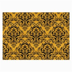 Damask1 Black Marble & Orange Colored Pencil (r) Large Glasses Cloth (2 Side) by trendistuff