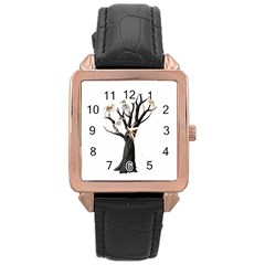 Dead Tree  Rose Gold Leather Watch