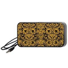Damask2 Black Marble & Orange Colored Pencil Portable Speaker by trendistuff