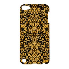Damask2 Black Marble & Orange Colored Pencil Apple Ipod Touch 5 Hardshell Case by trendistuff
