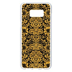 Damask2 Black Marble & Orange Colored Pencil Samsung Galaxy S8 Plus White Seamless Case by trendistuff