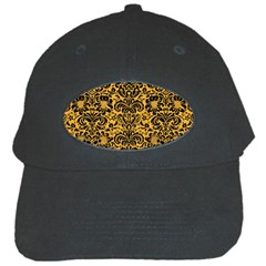 Damask2 Black Marble & Orange Colored Pencil (r) Black Cap by trendistuff