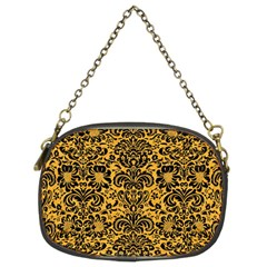 Damask2 Black Marble & Orange Colored Pencil (r) Chain Purses (two Sides)  by trendistuff