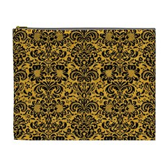 Damask2 Black Marble & Orange Colored Pencil (r) Cosmetic Bag (xl) by trendistuff