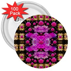 Flowers And Gold In Fauna Decorative Style 3  Buttons (100 Pack)  by pepitasart