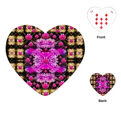Flowers And Gold In Fauna Decorative Style Playing Cards (heart)  by pepitasart