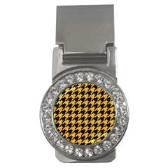 Houndstooth1 Black Marble & Orange Colored Pencil Money Clips (cz)  by trendistuff