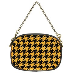 Houndstooth1 Black Marble & Orange Colored Pencil Chain Purses (one Side)  by trendistuff