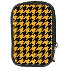 Houndstooth1 Black Marble & Orange Colored Pencil Compact Camera Cases by trendistuff