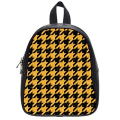 Houndstooth1 Black Marble & Orange Colored Pencil School Bag (small) by trendistuff