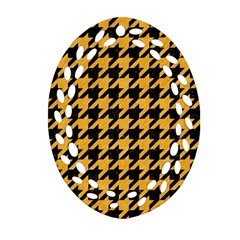 Houndstooth1 Black Marble & Orange Colored Pencil Ornament (oval Filigree) by trendistuff