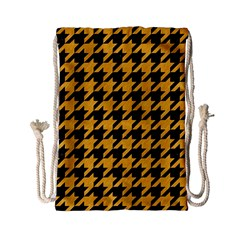Houndstooth1 Black Marble & Orange Colored Pencil Drawstring Bag (small) by trendistuff