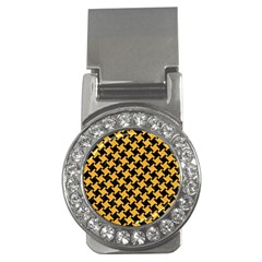 Houndstooth2 Black Marble & Orange Colored Pencil Money Clips (cz)  by trendistuff