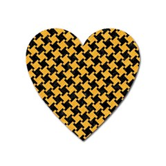 Houndstooth2 Black Marble & Orange Colored Pencil Heart Magnet by trendistuff